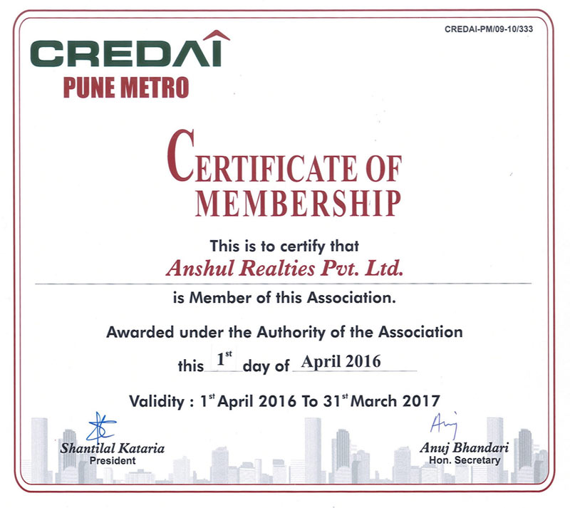 Confederation of Real Estate Developers Association of India - Certificate